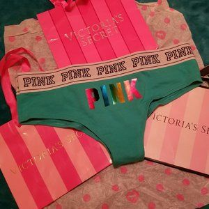 VS PINK rainbow turquoise logo hipster thongs S